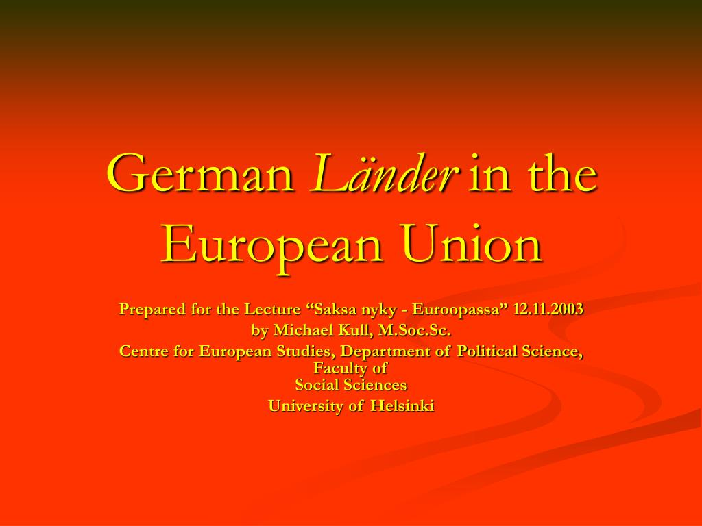 german l nder in the european union l.