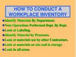 how to conduct a workplace inventory