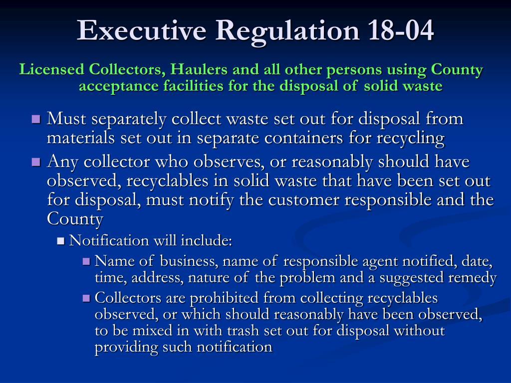 Executive Regulation 18-04