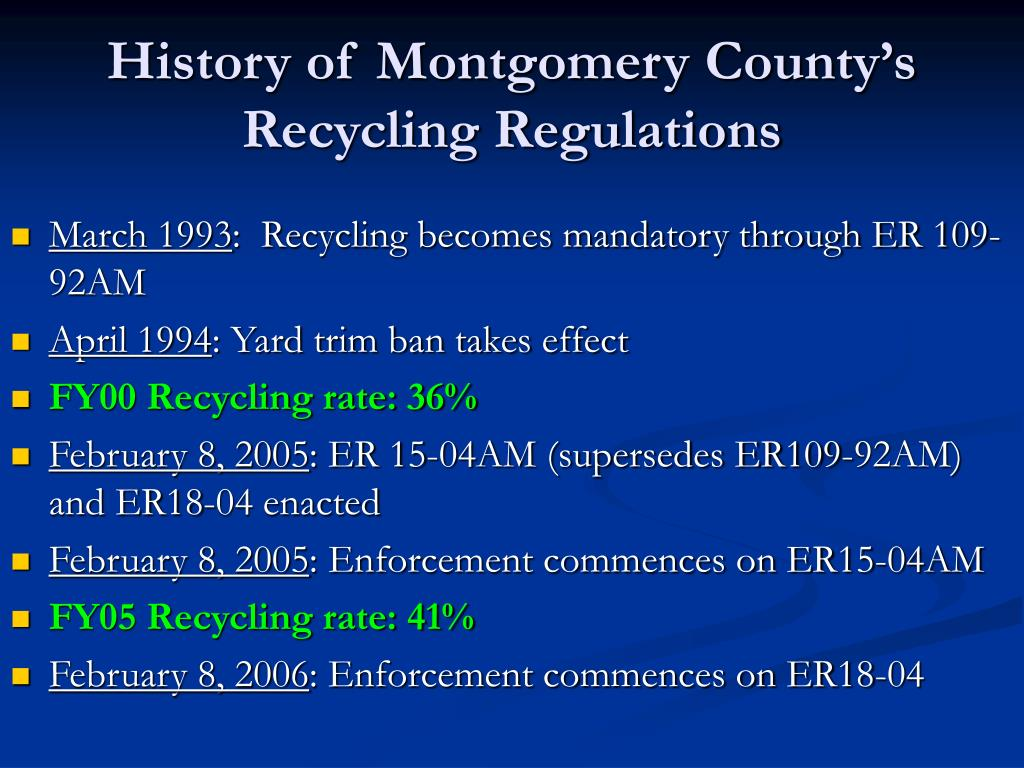 History of Montgomery County's Recycling Regulations