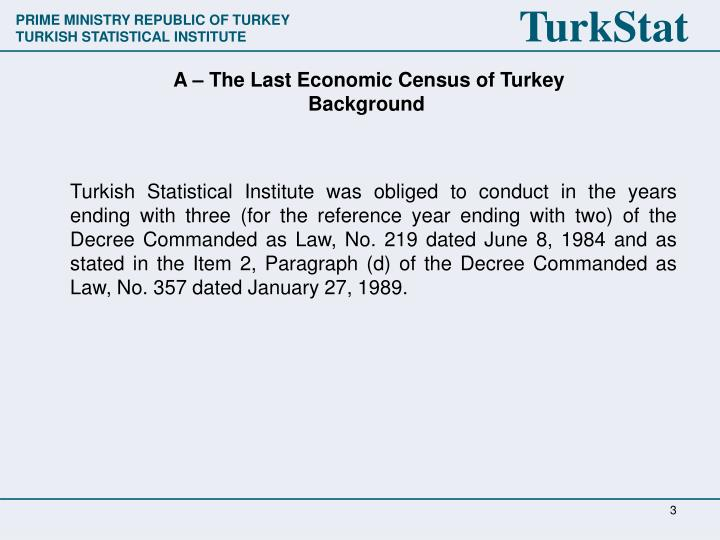 A the last economic census of turke y background