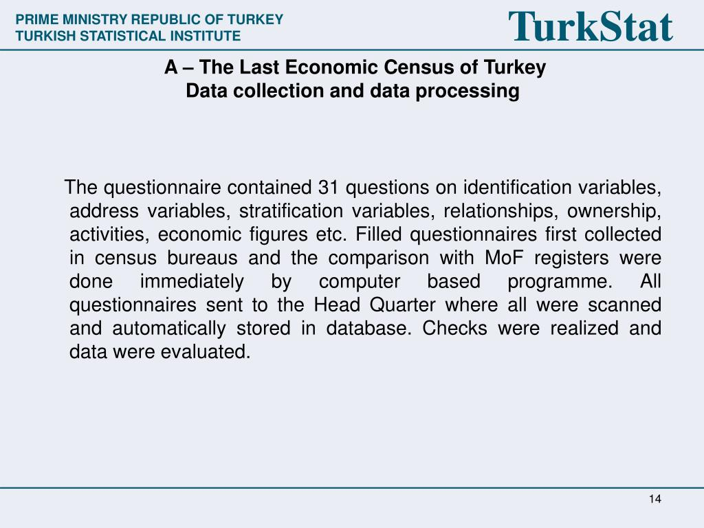 A – The Last Economic Census of Turkey