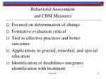 behavioral assessment and cbm measures