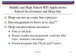 middle and high school rti applications school involvement and drop out