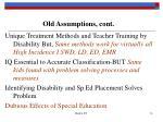 old assumptions cont