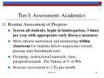 tier i assessment academics