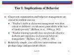 tier i implications of behavior