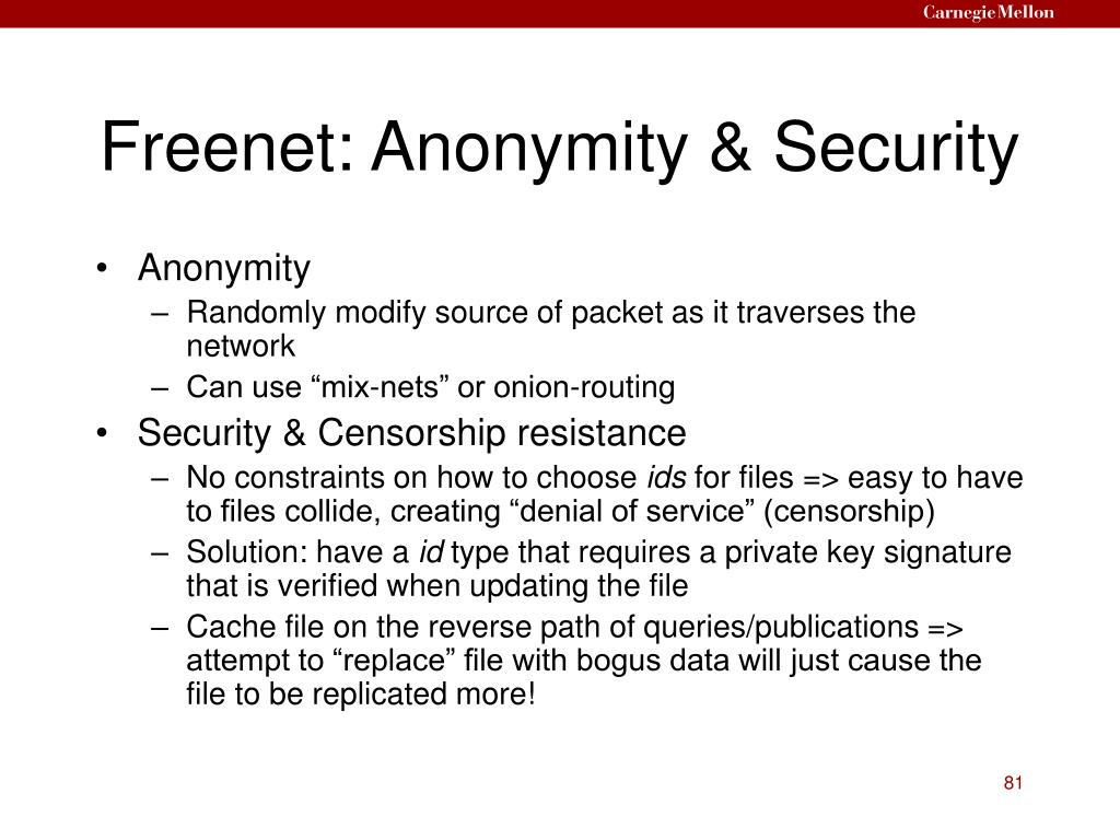 Freenet: Anonymity & Security