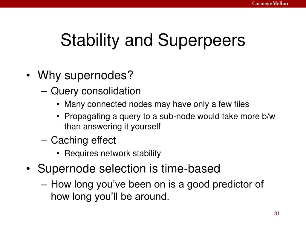 Stability and Superpeers