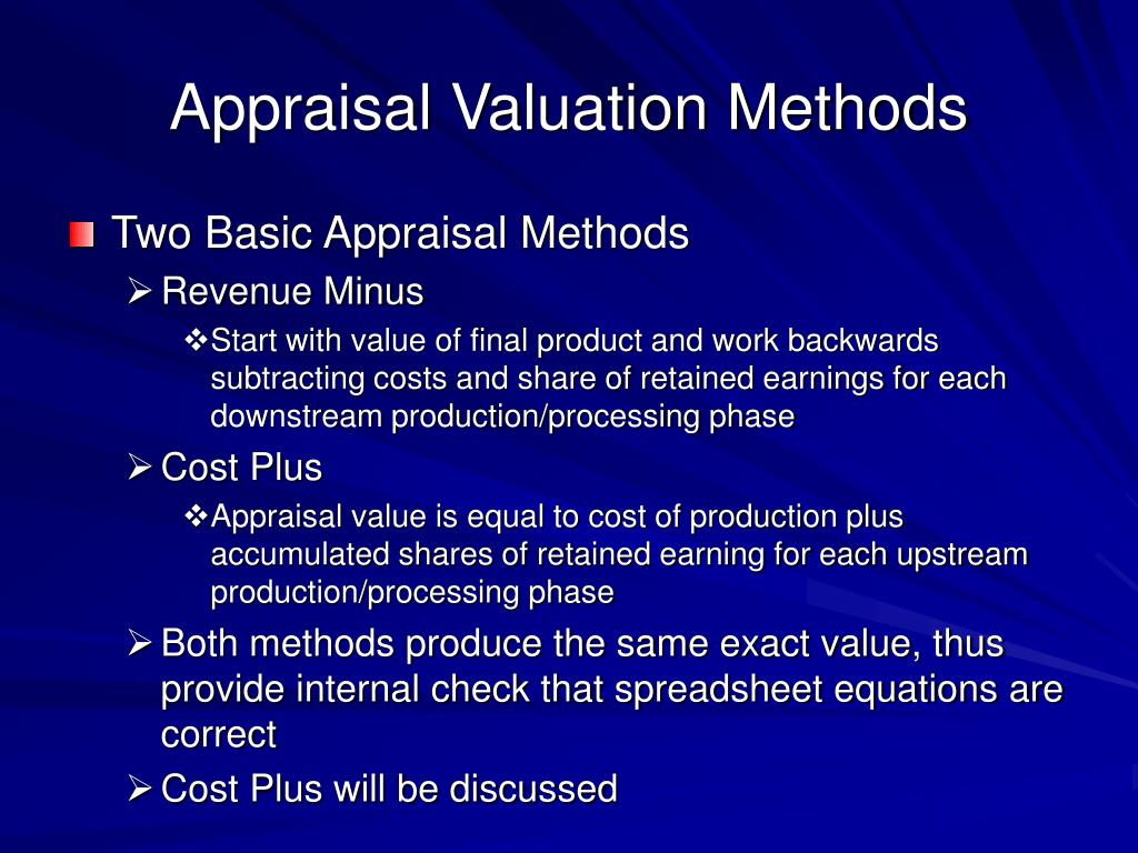 Appraisal Valuation Methods