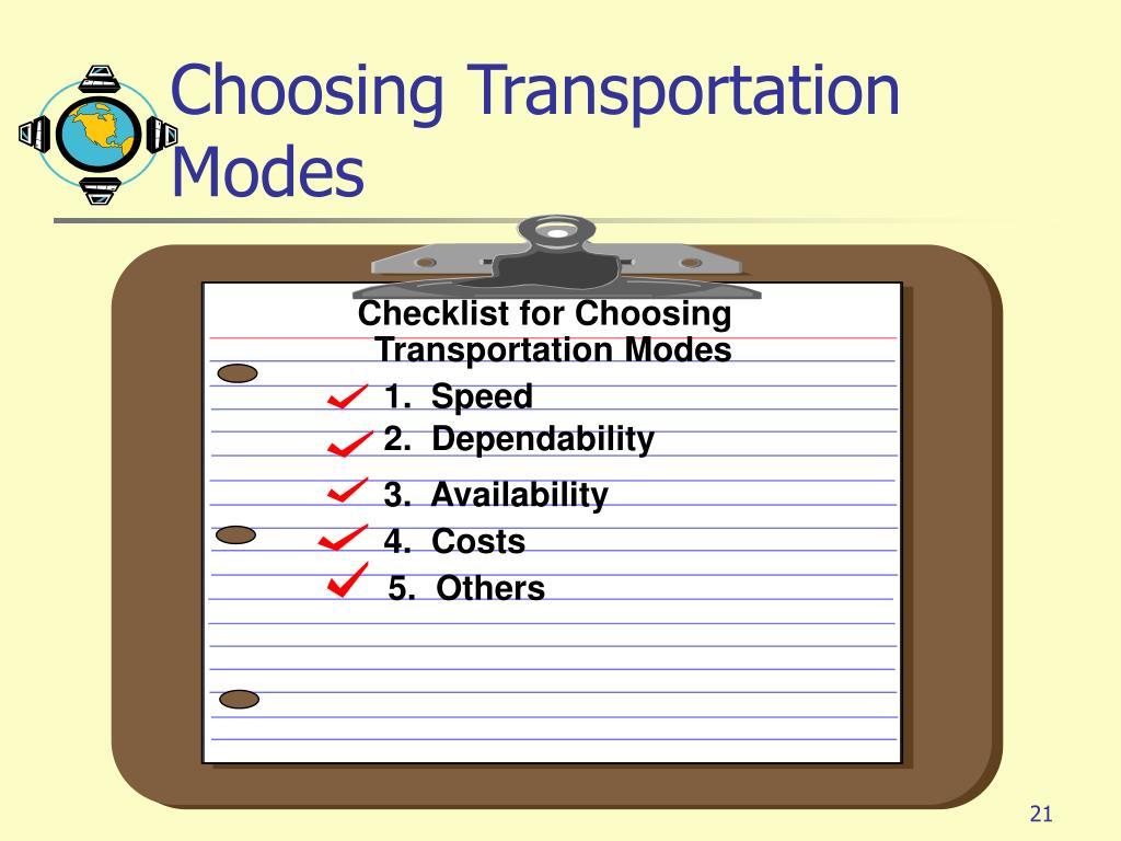 Choosing Transportation Modes