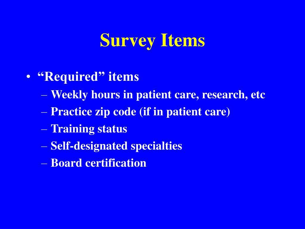 Survey Items