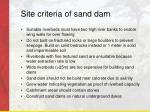 site criteria of sand dam