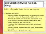 site selection mwiwe riverbed kenya