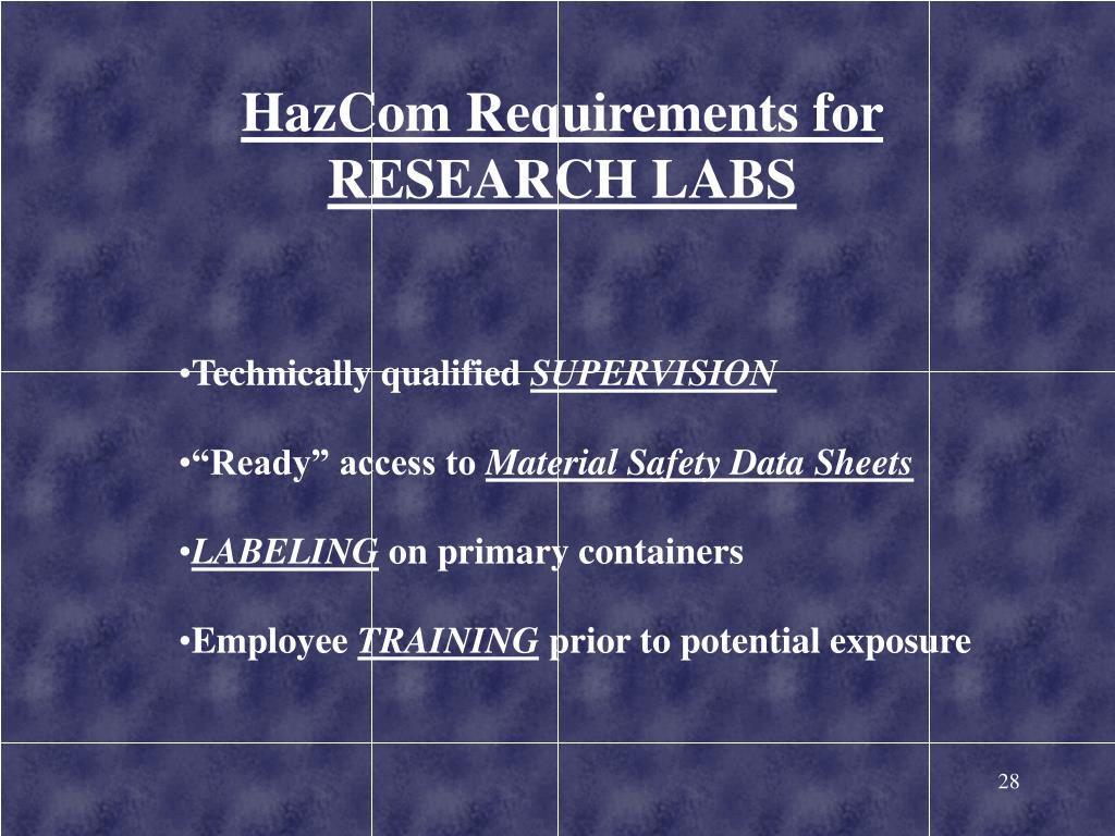 HazCom Requirements for