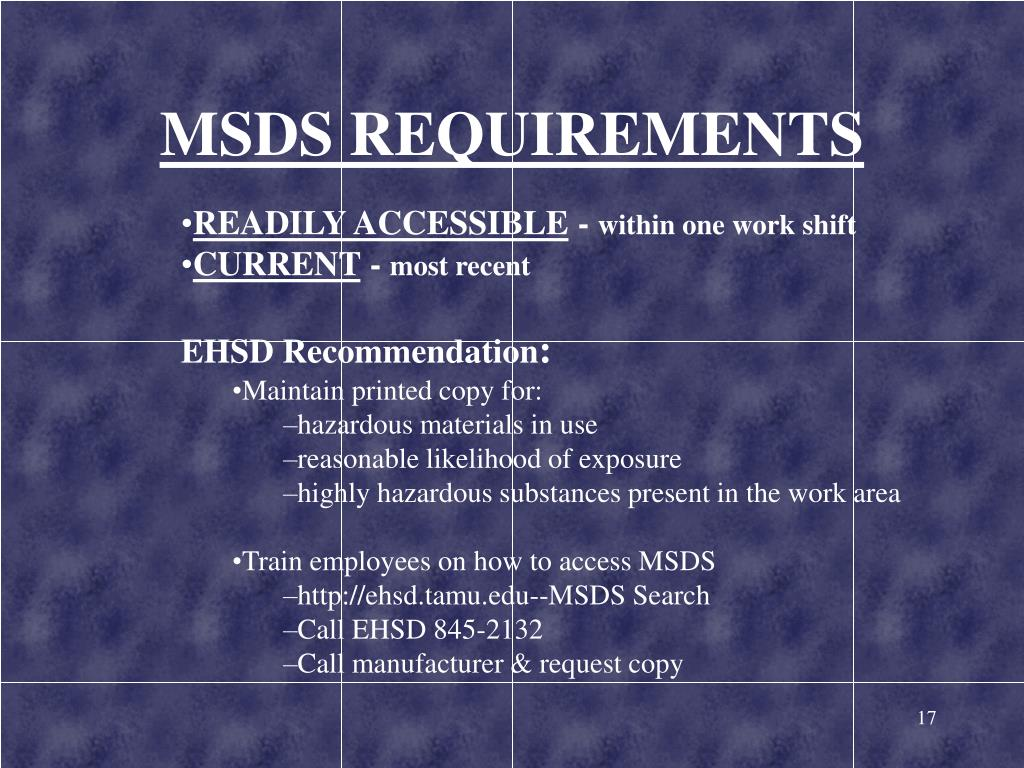 MSDS REQUIREMENTS