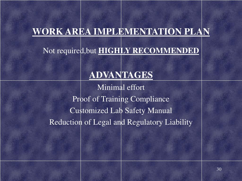 WORK AREA IMPLEMENTATION PLAN