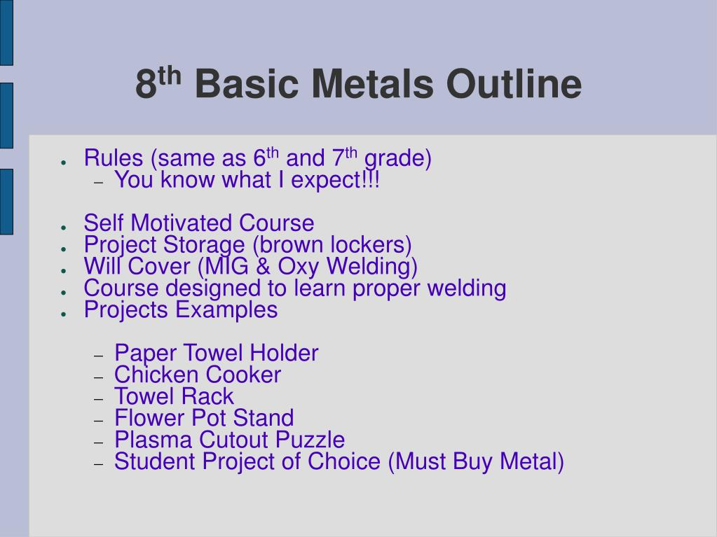 8 th basic metals outline l.