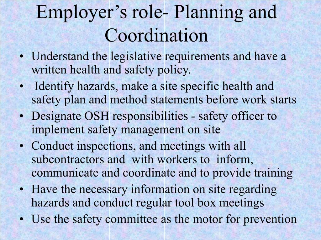 Employer's role- Planning and Coordination