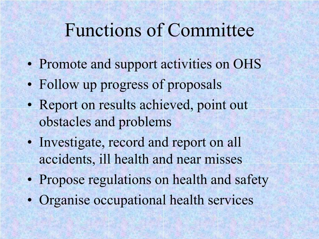 Functions of Committee