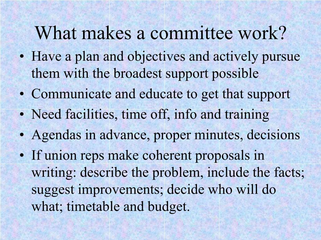 What makes a committee work?