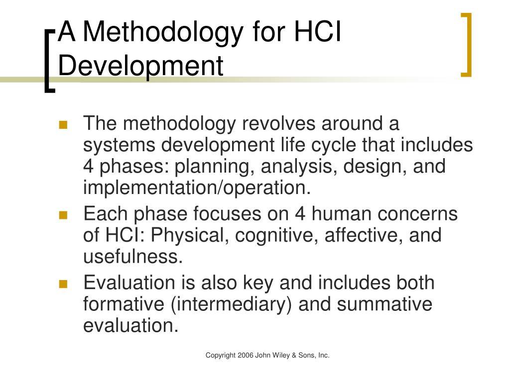 A Methodology for HCI Development