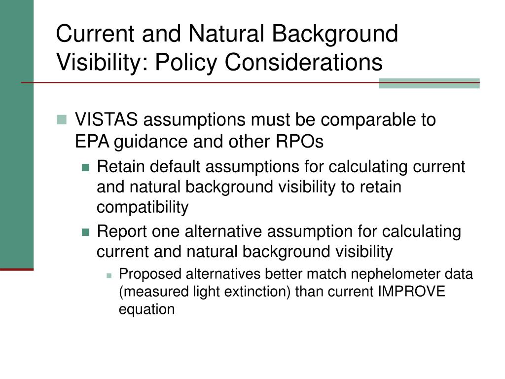 Current and Natural Background Visibility: Policy Considerations