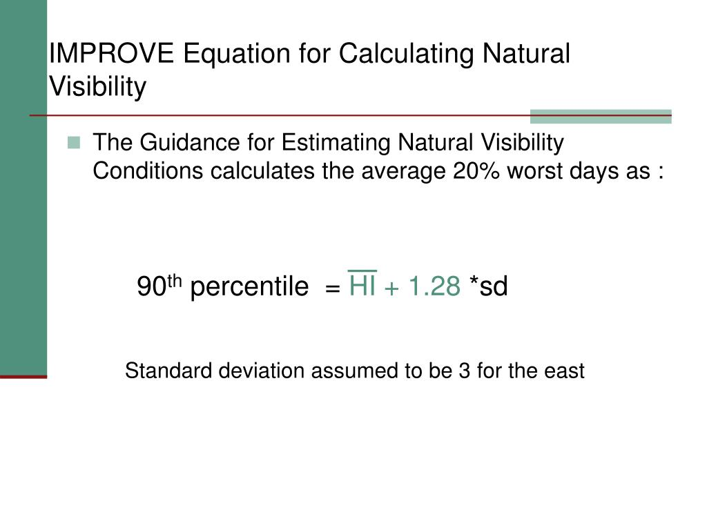 IMPROVE Equation for Calculating Natural Visibility