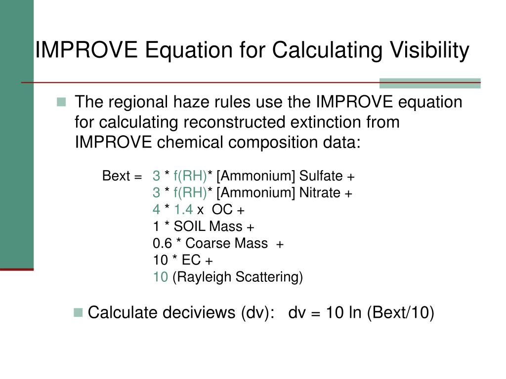 IMPROVE Equation for Calculating Visibility