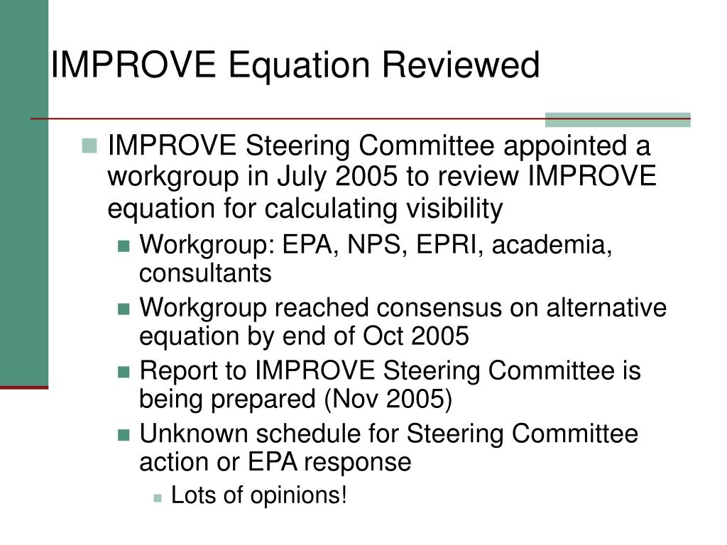 IMPROVE Equation Reviewed