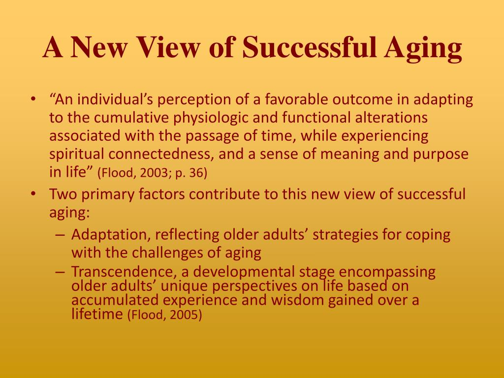A New View of Successful Aging