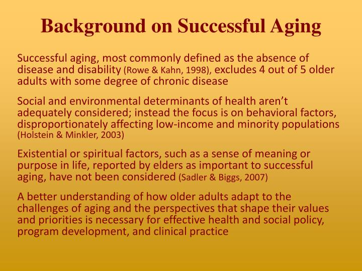 Background on successful aging
