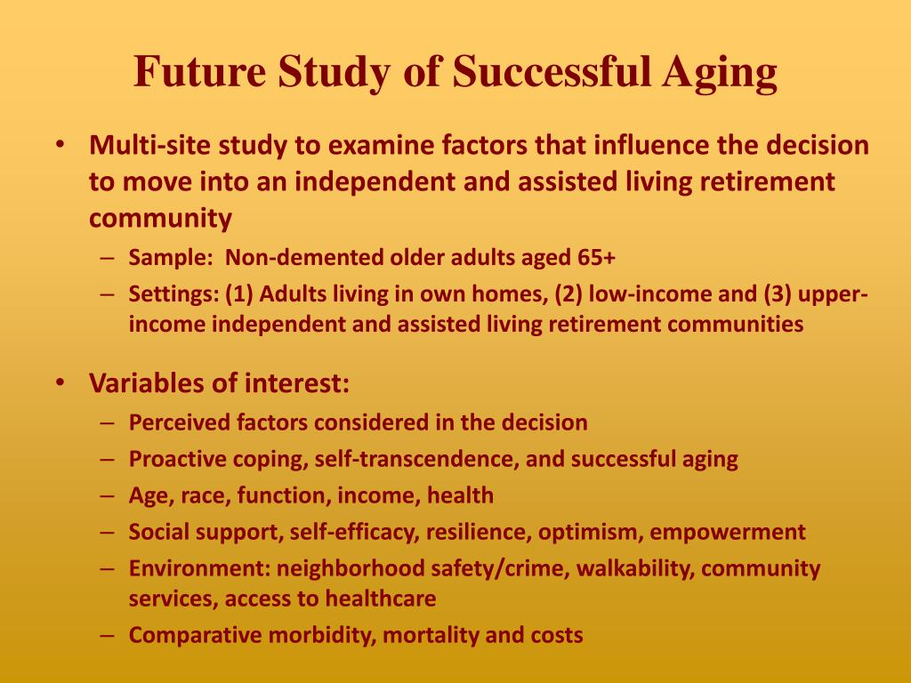 Future Study of Successful Aging