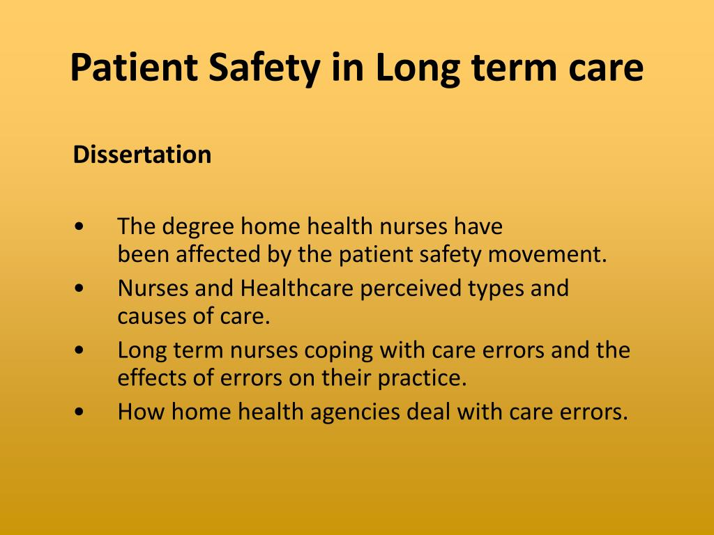 Patient Safety in Long term care