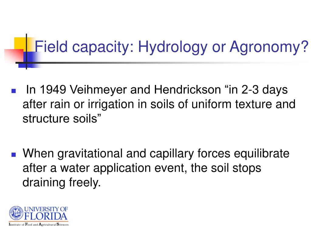 Field capacity: Hydrology or Agronomy?