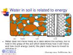 water in soil is related to energy
