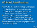 hdr wg best practices