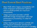 pixel format best practices