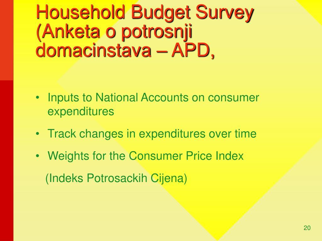 Household Budget Survey (Anketa o potrosnji domacinstava – APD,