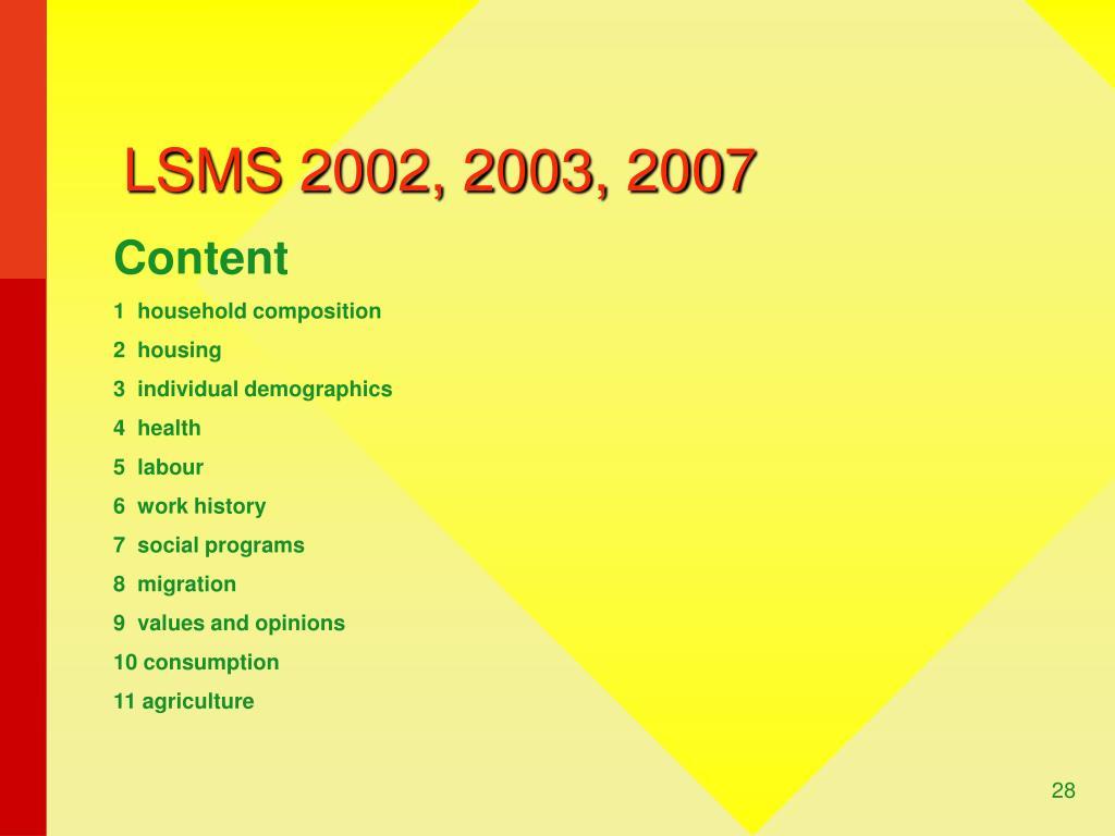LSMS 2002, 2003, 2007