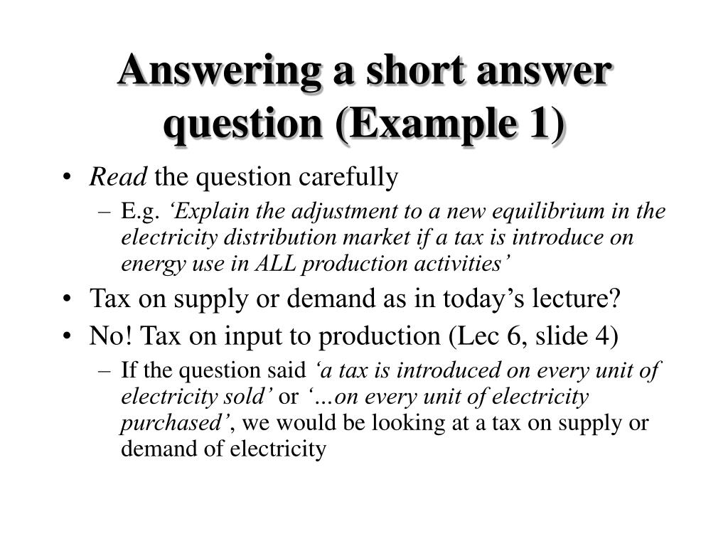Answering a short answer question (Example 1)