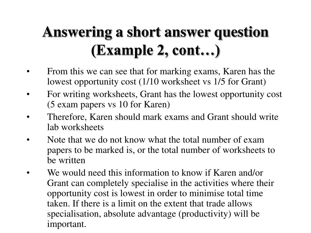 Answering a short answer question (Example 2, cont…)