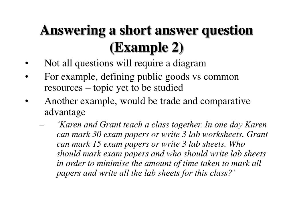 Answering a short answer question (Example 2)