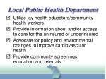 local public health department