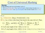 cost of universal hashing
