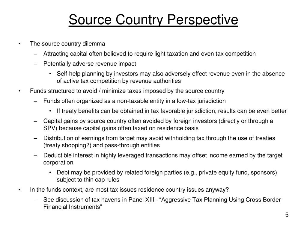 Source Country Perspective
