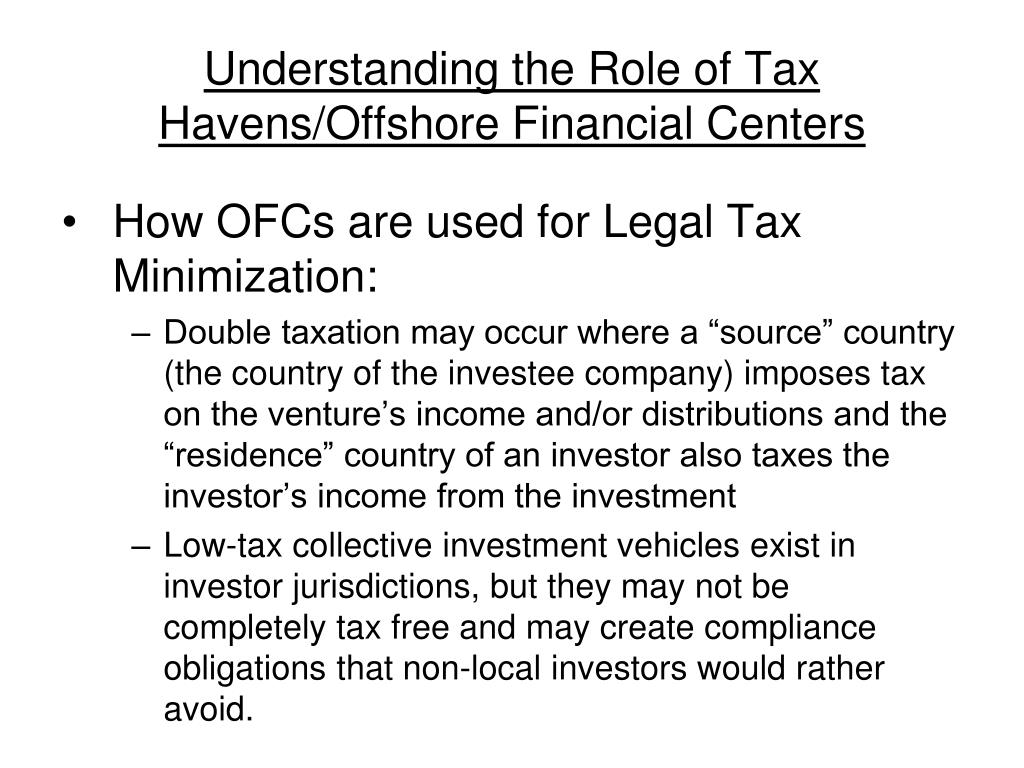 Understanding the Role of Tax Havens/Offshore Financial Centers