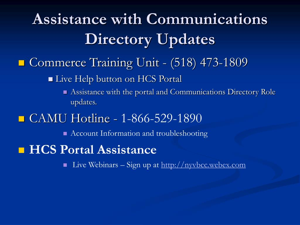 Assistance with Communications Directory Updates
