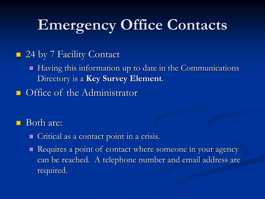 Emergency Office Contacts