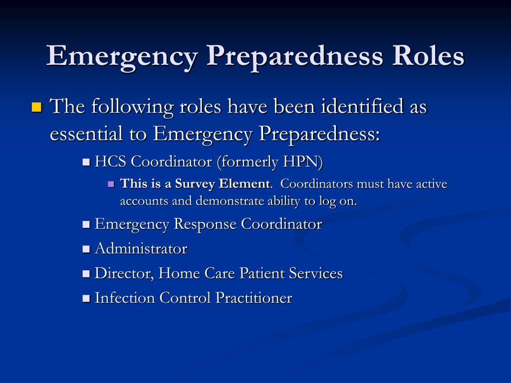 Emergency Preparedness Roles